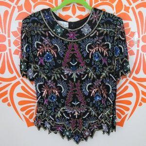Vintage 80's Laurence Kazar Silk Beaded Top